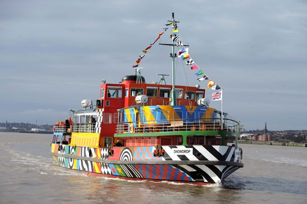 Manchester's Snowdrop Ferry - In Dazzle Colours - Landing in Liverpool