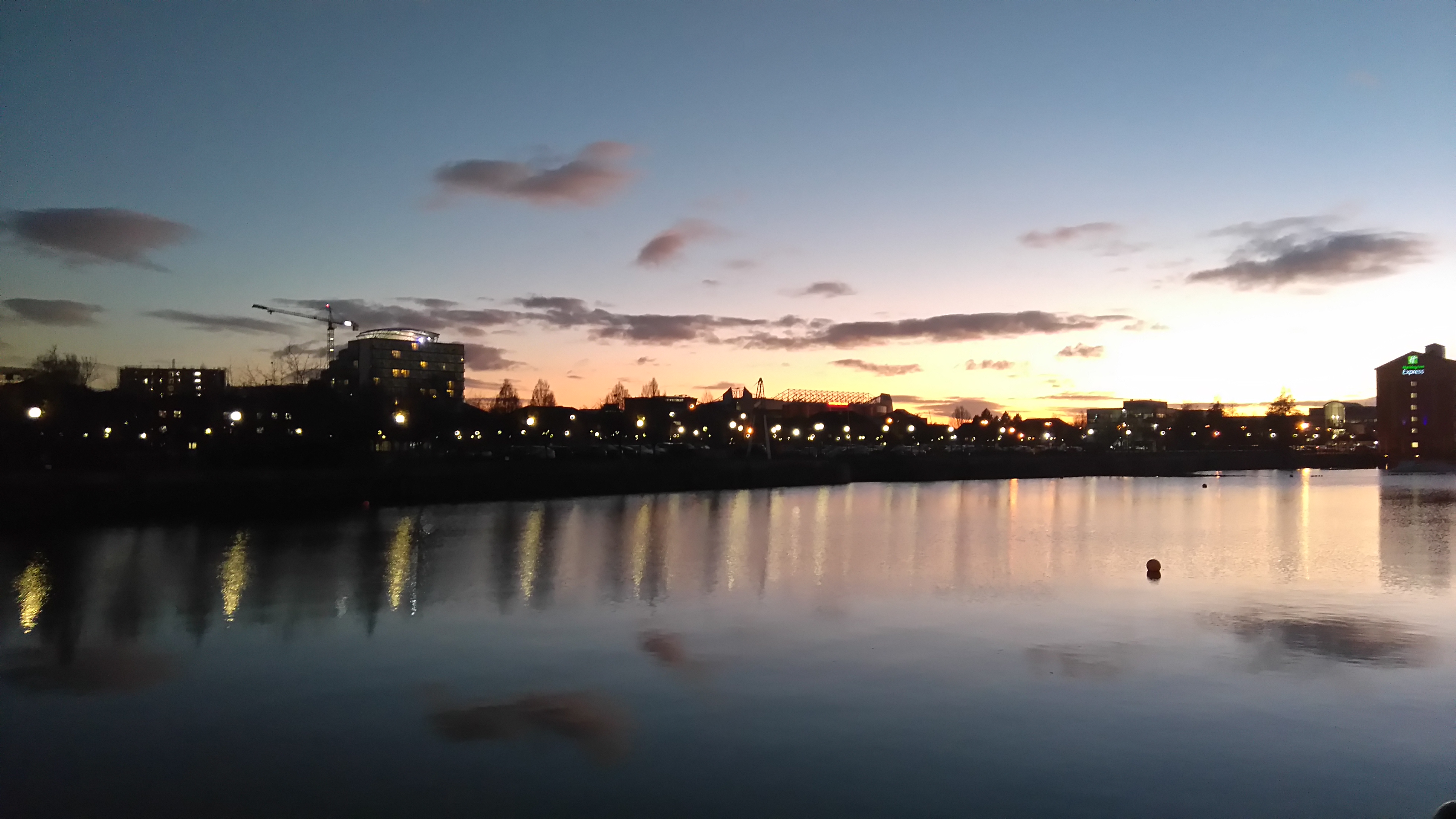 Ontario Basin, Salford Quays, during Sunset.