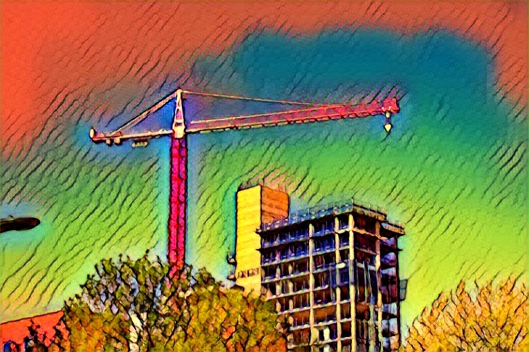 A Tower crane. on Salfords Trafford Road, the subject of this character piece