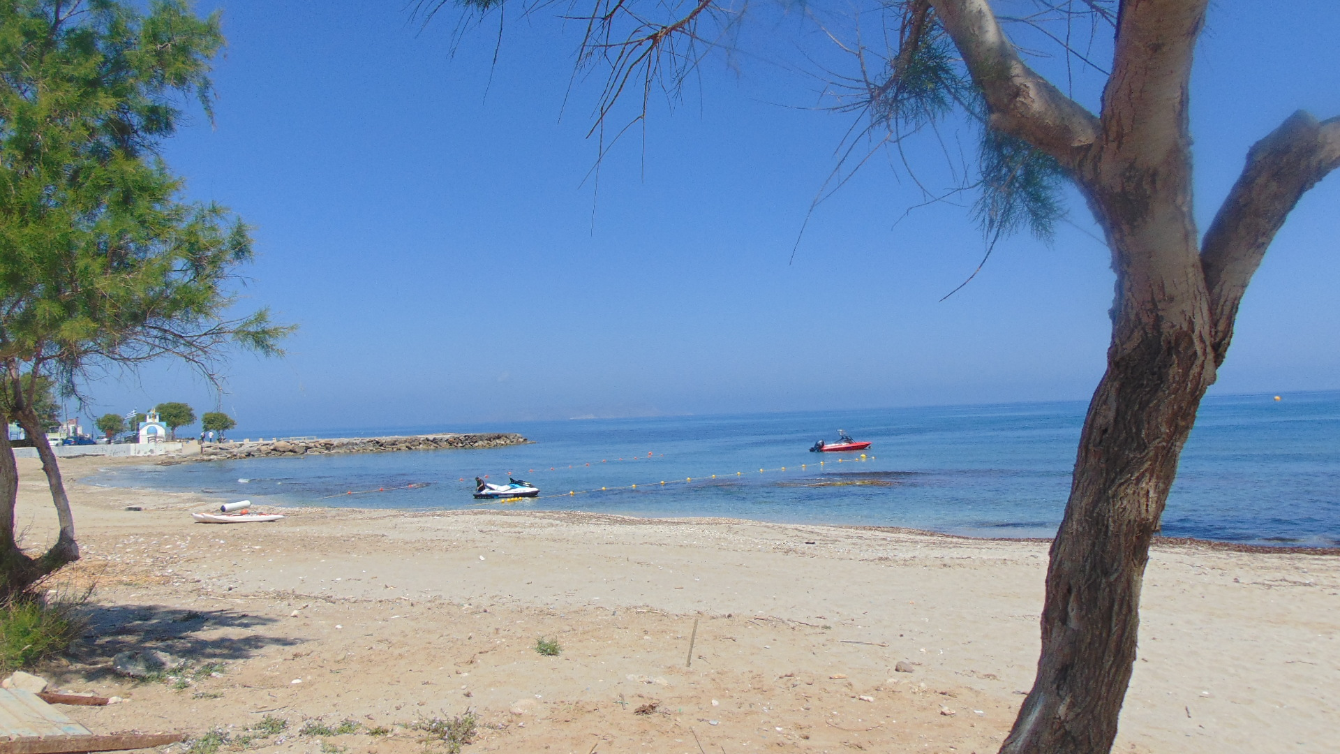 Trees on an empty beach in Greece, On Calm Blue Waters