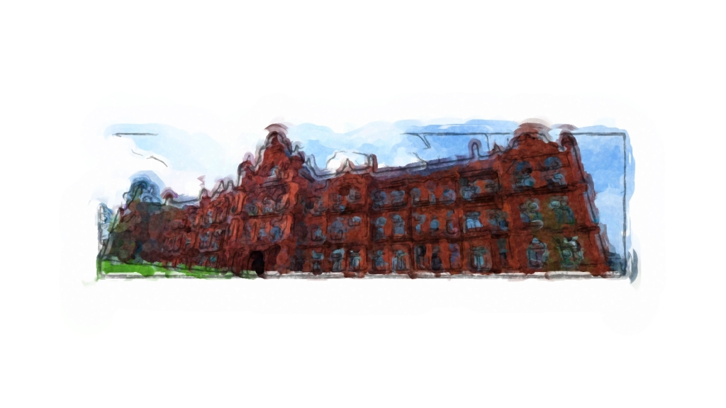 Peel Building, University of Salford drawn up in Painter Essentials by Inky, from photograph - example of red brick building