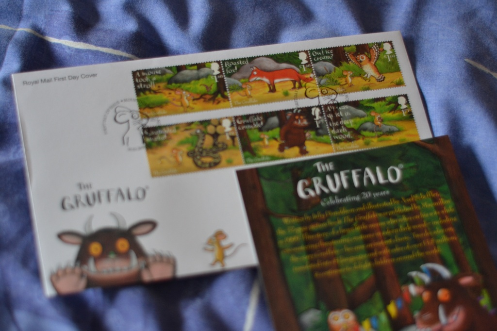 A First Day Cover - this one contains six stamps with pictures from the Tale of the Gruffalo by Julia Donaldson.