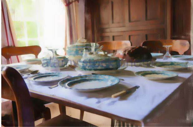 Victorian table, set for dinner with Plates for Soup, mains and pudding.