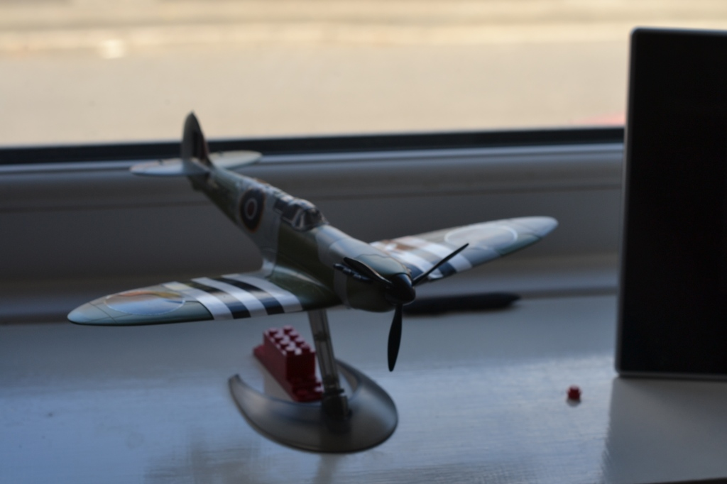 D-Day Spitfire, one of three planes (built by me) on my windowsill